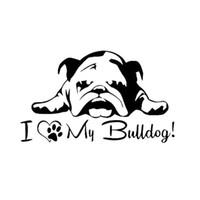 fransızca ingilizce toptan satış-İngilizce Fransızca Bulldog Için Pet Köpek Pet Köpek Paws Aşk Kalpler Araba Pencere Dizüstü Decal Sticker