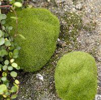 ingrosso pietra verde per la decorazione-Artificiale Verde Muschio Pietre Schiuma Artificiale Flock Ciottoli Vaso Decorazioni Da Giardino Varie Dimensioni 30 PZ / LOTTO Spedizione Gratuita
