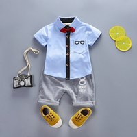 Wholesale baby clothing tie resale online - Kids Baby Boys Clothes Clothing Sets Summer Infant Boy Short Sleeve Shirt Pants Outfits Suits Toddler Child Bow Tie Outfit Tracksuits