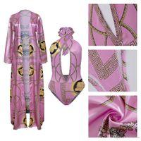 encubrimientos para trajes de baño al por mayor-Color púrpura Mujeres Verano Bikini Cover Up Tops 2 unids Floral Print traje de baño traje de baño ropa de playa envío gratis