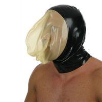 masque de lingerie achat en gros de-2018 lingerie sexy unisexe fait à la main personnaliser la taille Latex lingerie exotique cekc Fétiche Noir Avec Transparent Masque Visage Capuchons Capuche