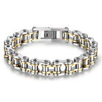 Wholesale Titanium Steel Bicycle Chain - Cool Men Biker Bicycle Motorcycle Chain Men's Bracelets & Bangles Fashion 4 Color 316L Stainless Steel Jewelry