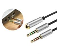 auricular femenino al por mayor-2017 Universal 35 cm 3.5mm Audio Estéreo Macho a 2 Auriculares Hembra Mic Y Splitter Cable Conector Adaptador para teléfono móvil