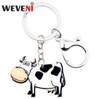 leite de leite venda por atacado-WEVENI Acrílico Leite Leite Vaca Gado Chaveiro Chaveiro Anéis Animal Bonito Jóias Para Mulheres Meninas Kid Bag Car Purse Charms Presente