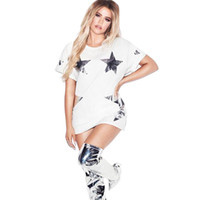 Wholesale star pattern shirt for sale - Group buy Summer Oversized Dress Plus Size Casual T Shirt Dresses O Neck Short Sleeves Design Gold Silver Leather Star Patterns Cool Girl Style