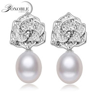 подлинный пресноводный жемчуг стерлингового серебра оптовых-Real 925 sterling silver earrings natural pearl earrings for women genuine freshwater pearl earring jewelry girl birthday gift
