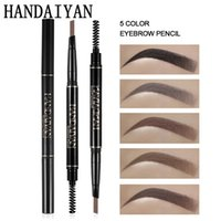 черный карандаш цветной карандаш оптовых-HANDAIYAN Eyebrow Pencil Waterproof Microblading Pen crayon sourcils Black Gray Brown Automatic Eye  Pencil & Brow Brush