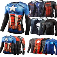 Wholesale wholesale comic clothing online - S XL D Comic Print Raglan Men Stretch Tight Compression Long Sleeve Fitness Clothing Workout Base Layer Costume Shirt Gym T Shirt Top