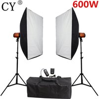 фотография с мягким освещением оптовых-CY фотостудия софт-бокс вспышка комплекты освещения 600ws стробоскоп свет+софтбокс стенд набор фотостудия аксессуары Godox 300SD