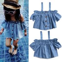 Wholesale Girls Denim Blouses - Toddler Kids Baby Girls Denim Casual Ruffles Off Shoulder Blouse Tops T-Shirt