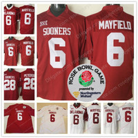 Wholesale Youth Football Jersey Black - Oklahoma Sooners #6 Baker Mayfield Men Youth Kid Adult Red White Limited 2018 NCAA Rose Bowl Patch Stitched College Football Heisman Jerseys