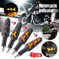 ingrosso lampada ossea-4pcs LED Fish Bone Motorcycle Indicator Indicatore di direzione lampada anteriore + posteriore DC12V Giallo Acqua che gira Luce di svolta + luce corrente