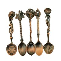 Wholesale royal cutlery set - 5pcs Set lot Dining Bar Vintage Royal Style Carved Small Coffee Spoon Flatware Cutlery Mini Dessert Spoon for Snacks Tableware W3