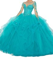 Wholesale mail art online - Quinceanera Dresses Sexy long sleeves one word collar multi layer net lotus leaf edge binding elastic net and ground mail