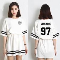 mini-robes mode coréenne achat en gros de-Robe d'été 2018 mode coréenne Kpop Bts Bangtan Mini robe à manches courtes pour garçons dans la même robe de jin v Jimin mignon Harajuku
