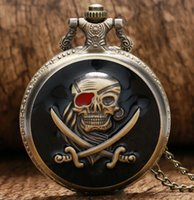 Wholesale Skull Watch Necklace - Wholesale-Cool Black Skull Pirate Design Quartz Fob Pocket Watches with Necklace Chain for Men Women Creative Gift