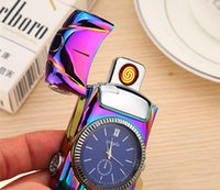 Wholesale eco watches online - NewIntelligent Electric Lighter windproof USB type Cigarette lighter sensor rechargeable metal watch sports car novetly lighter