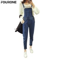 fe9b4acd34c Women Rompers Denim Blue Suspender Stretchable Skinny Trousers Lady Strappy  Pockets Overalls Jeans Long Pants