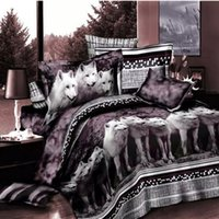 Wholesale queen size beddings online - Wolf Bedding Set Queen Size D Print Brown Color Wolves Animal Duvet Cover Bedspreads Beddings