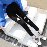 гетры с черным лодыжком оптовых-Vintage Women Black Ripped Jeans Pants All Match Female Skinny Jeans Leggings Ankle Length Female Fashion Trousers Ankle Length
