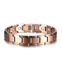 ingrosso grandi braccialetti di rame-Moda Big Link Chain KC colore oro lusso braccialetto di rame braccialetto salute energia braccialetto magnetico per gli uomini accessori gioielli regalo