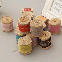 Wholesale Satin Ribbon Tape - Rustic Wedding Favor Jute Burlap Rolls Ribbon with Colorful Lace Trims Tape Ribbon Wedding Cake Rustic Decorations