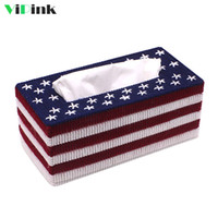 Wholesale stitch car covers - Handmade 3D DIY Cross Stitch American Flag Paerns Tissue Box Cover Kits Embroidery Needlework Sets Home Room Car Tissue Case