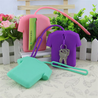 Wholesale wholesale key chains made for sale - Clothes Key Chain Buckle Ring Eco Friendly Silicone Girls Coin Key Card Pouch Lovely Charm Gifts Storage Bag Pure Color xh bb