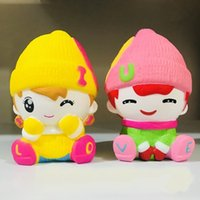Wholesale decorating charms - Kawaii Decompression Toys Simulation Boy Girl Slow Rising Squishy Decorate Toy PU Children Jumbo Cartoon Squeeze Squishies Charms 13 9ys Y