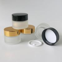 tampa do frasco de creme de ouro venda por atacado-20 PÇS / LOTE 15 ML Pequeno Frasco De Creme De Vidro De Gelo com Ouro Preto Tampas Branco Selo