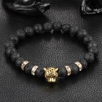 silberner löwenschmuck großhandel-Perlen Armbänder für Männer und Frauen 8MM Lava Stein Perlen Armband Gold Silber Lion Head Modeschmuck