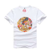 conception de broderie de cou d'hommes achat en gros de-Nouveau Design Coton Broderie Dragon Imprimé T Shirt Hommes De La Mode D'été Hommes O-Cou Haute Qualité Cool Vêtements À Manches Courtes
