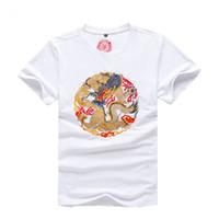 diseño del bordado del cuello de los hombres al por mayor-Nuevo diseño de algodón bordado dragón impreso camiseta para hombre moda verano hombres cuello redondo alta calidad ropa fresca manga corta