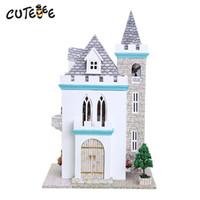 artisanat miniatures maison en bois achat en gros de-Maison de poupée bricolage en bois maisons de poupée Miniature Dollhouse Meubles Kit jouets pour enfants maisons de cadeaux Home Decor Craft K012