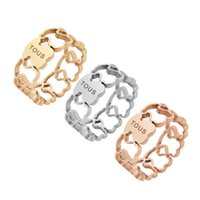 Wholesale quality asian - 2018 New Fashion Anillo Stainless Steel Women Spainish wied band Rings Size 6.7.8.9 Cute hollow Rings good quality no fade jewelry