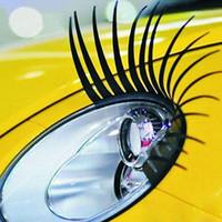 autocollants d'oeil de voiture achat en gros de-3D Charme Noir Faux Cils Faux Eye Lash Autocollant De Voiture Phare Décoration Drôle Decal Pour Beetle la plupart voiture