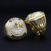 Wholesale Mens 14k White Gold Rings - 2016 kobe bryant retirement championship rings mens rings 18k gold basketball diamond ring for fans collect souvenirs gemstone rings