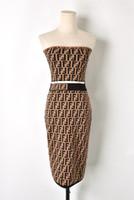kadın tüpleri toptan satış-Avrupa Yeni tasarım kadınlar seksi kapalı omuz straplez tüp üst F harfi jakarlı örme kırpma üst ve diz boyu kalem etek twinset suit