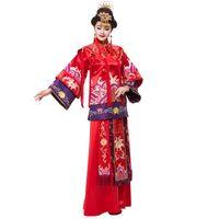 вечернее платье с винтажным рукавом оптовых-Красный Cheongsam платье с длинными рукавами кимоно зарубежные китайский свадебное платье костюм кимоно невесты красный вечер старинные длинные qipao костюмы