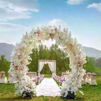 ingrosso arco del fiore del metallo-O forma centro di nozze pezzi Metal Wedding Arch Door Hanging Garland Flower Stand con fiori di ciliegio per la decorazione di eventi di nozze