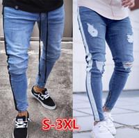 ingrosso jeans a gamba lunga-Mens jeans strappati Leg Zipper righe Biker denim dei pantaloni della matita maschio adatto pantaloni lunghi pantaloni slim Distressed Streetwear Pantaloni jeans da uomo