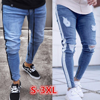 Wholesale mens legs for sale - Group buy Mens Ripped Jeans Leg Zipper Striped Biker Denim Pencil Pants Male Fit Long Trousers Pants Slim Distressed Streetwear Jeans Mens Pants