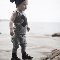 Wholesale Cool Girl Costumes - 2018 summer style cool Newborn infant baby boys kid clothes casual suit 2pcs outfitsset costume summer baby girl clothing sets