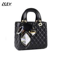 женские сумочки для женщин оптовых-ICEV New Fashion Women Leather Handbags Bags Handbags Women Famous s Cute Scarves Hairball Quilted Organizer Ladies Totes