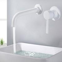 banyo armatürü döner ağızlı toptan satış-Pirinç Duvar Havzası Mikser Dokunun Banyo Lavabo Bataryası Döner Borulu Banyo Dokunun Tek Kolu Beyaz Lavabo Lavabo Bataryası Vinç