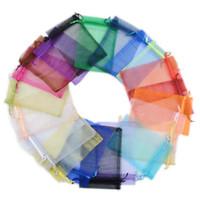 bolsas de almacenamiento de tela zip al por mayor-7x9 cm Suave Tela Organza Regalos Bolsas Joyería de lazo Regalos Bolsas Multicolor caramelo Galletas Bolsa de embalaje para el banquete de boda de Navidad