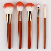 Wholesale women makeup cosmetic contour for sale - Group buy 5Pcs red wood handle makeup brushes powder blusher contour eyeshdow eyebrow concealer eyeliner cosmetic brushes Beauty Tool Kit Women Gifts