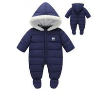 barboteuses à capuchon bébé achat en gros de-Vêtements de bébé New Winter Hooded Baby Barboteuses Coton épais Outfit Combinaison nouveau-né pour enfants Costume de bébé