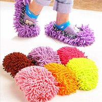 Wholesale house shoes slippers online - Women Plush Chenille Shoe Covers Lazy Unisex Mopping Floor Wipe Slippers For Cleaning House Dust Bathroom Tools zm Y