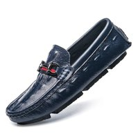 buckle driving loafer for men UK - Designer Brand Mens Genuine Leather Moccasins for Men High Quality Slip On Flats Loafers Fashion Buckle Style Driving Shoes